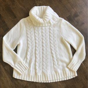 Sonoma ivory chunky knit cowl turtleneck sweater